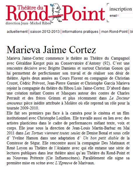 Articla Marieva Théâtre du Rond Point