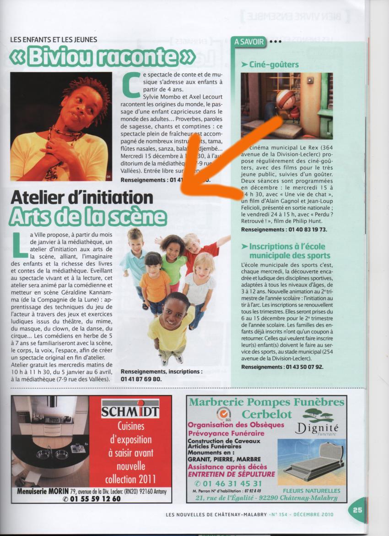 Article Nouvelles de CM - Atelier Mediathèque Dec 2010